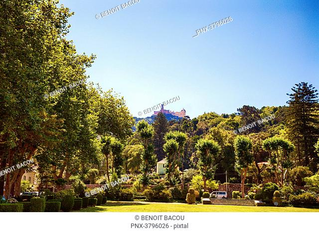 Pena National Palace from the garden of Tivoli Seteais Palace, Sintra, Lisbon area, Portugal