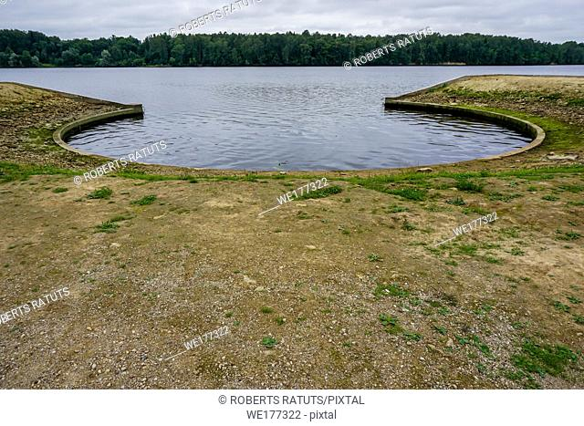 Artificial shore in Koknese park Garden of Destinies in Latvia. Garden of Destinies is a monumental architectural ensemble on the Daugava Island in Koknese