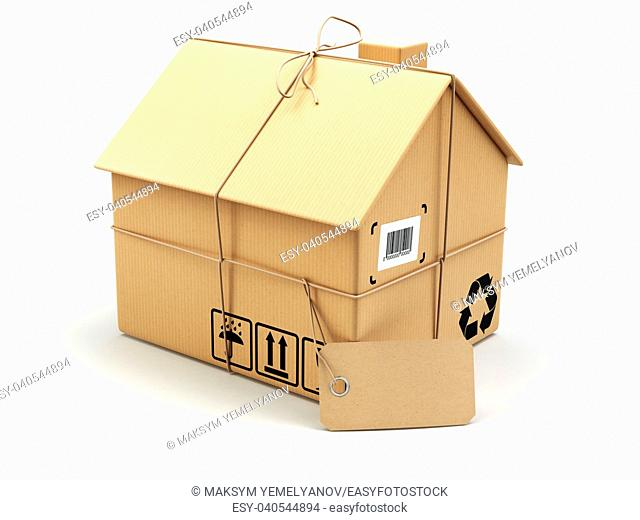 Delivery concept. Moving house. Real estate market. Cardboard box as home isolated on white. 3d