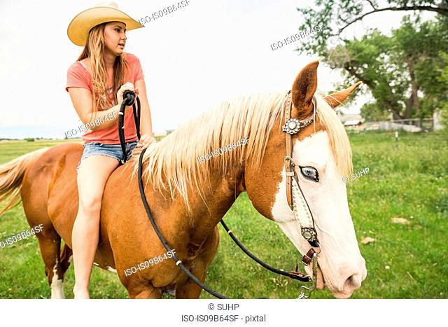 Young woman riding bareback on horse in ranch field, Bridger, Montana, USA