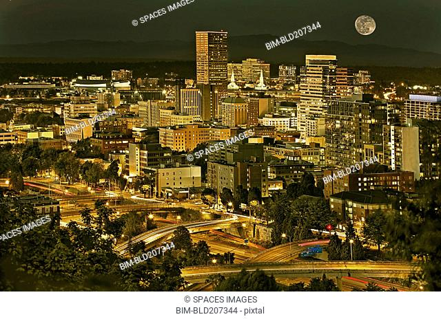 Night view of Portland city downtown area