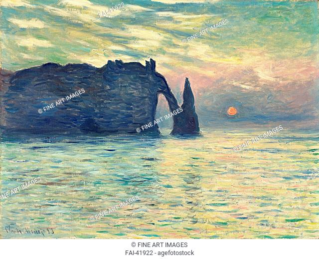 The Cliff, Étretat, Sunset by Monet, Claude (1840-1926)/Oil on canvas/Impressionism/1882-1883/France/Fine Art Museum of North Carolina/60,5x81