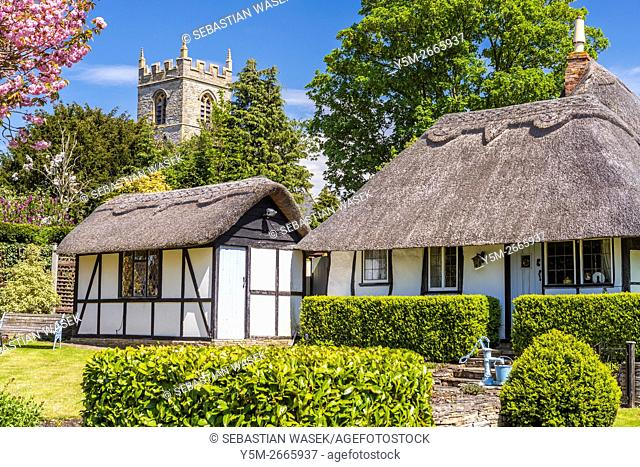 Thatched Cottages at Welford-on-Avon, Warwickshire, England, United Kingdom, Europe