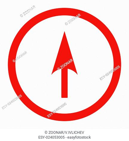Arrow Axis Y flat red color rounded raster icon