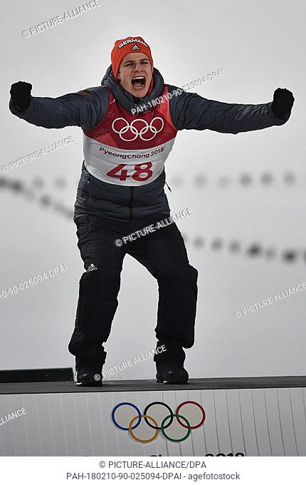 German ski jumper Andreas Wellinger celebrates winning the Olympic gold medal at the Alpensia centre in Pyeongchang, South Korea, 10 February 2018