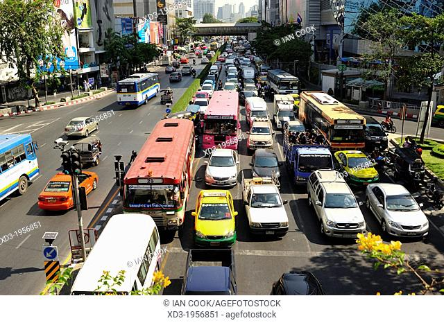 traffic near Siam Square, Bangkok, Thailand