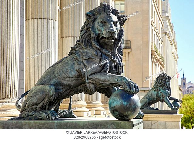 Plaza de Las Cortes, Congreso de Los Diputados,The Spanish Congress of Deputies, Parliament of Spain, Madrid, Spain, Europe