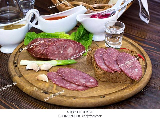 plate with sausage