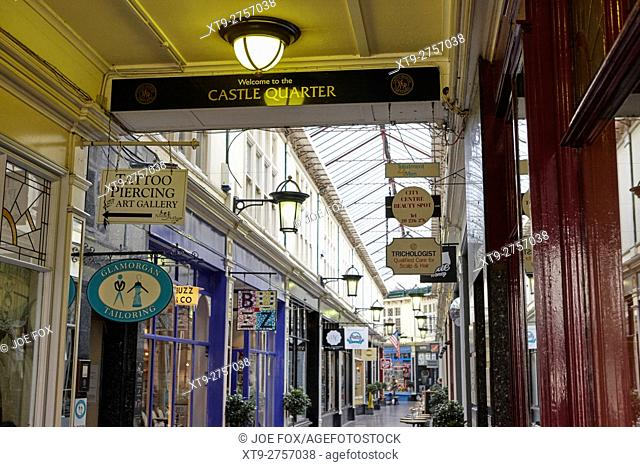 high street shopping arcade castle quarter Cardiff Wales United Kingdom