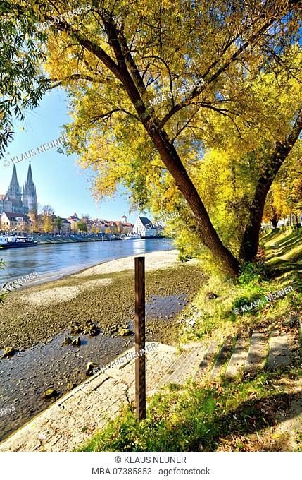 View from the Jahn Island, Marc-Aurel-Ufer, cathedral, waterfront, autumn, Regensburg, Upper Palatinate, Bavaria, Germany, Europe