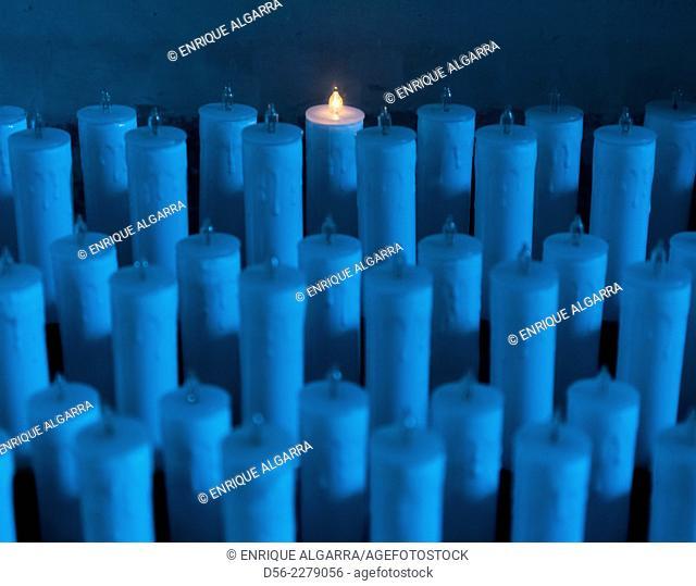 electric candles in a church, La virgen de la vega, Teruel, Spain