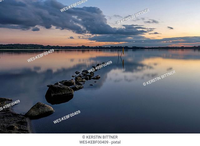 Germany, Eckernfoerde, Windebyer Noor at evening twilight