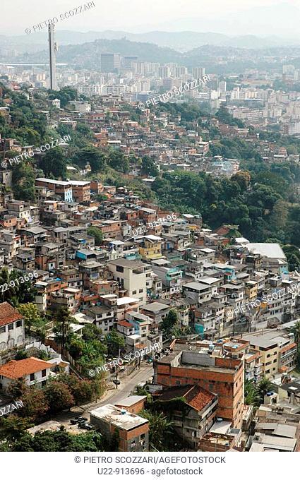 Rio de Janeiro (Brazil): favelas seen from Santa Teresa