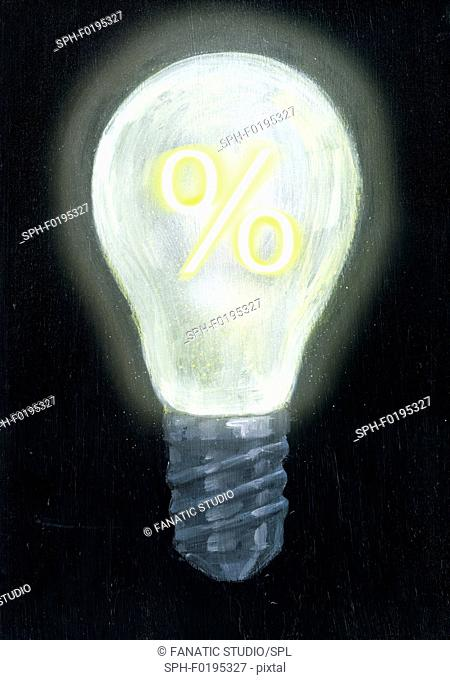 Illustration of light bulb with percentage sign
