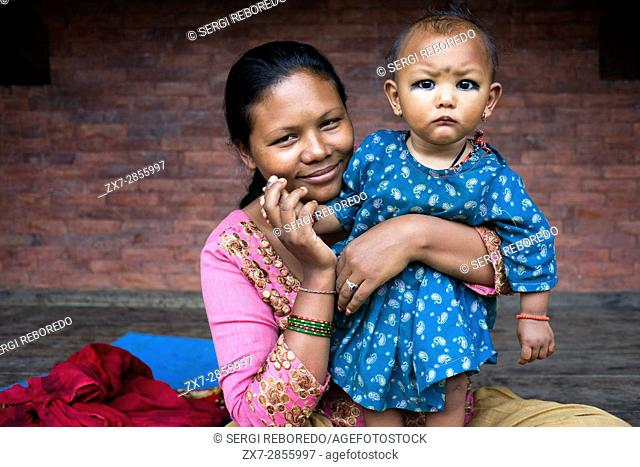 Mother with her doughter, Bhaktapur, Kathmandu Valley, Nepal