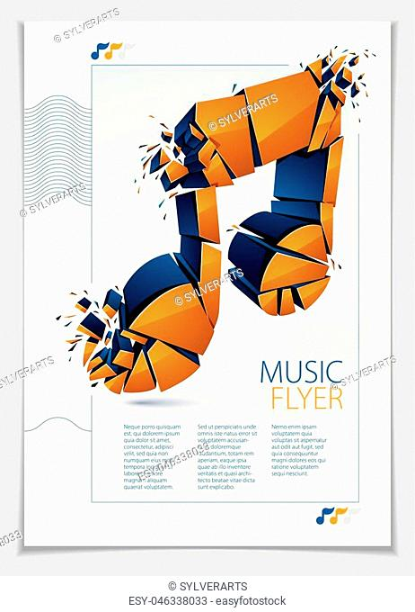 Musical note exploding to pieces, vector 3d realistic illustration symbol. Hard loud sound concept, flyer or brochure design, rock or electronic genres