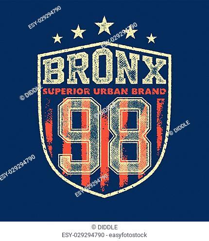 vintage bronx typography, t-shirt graphics, vectors illustration