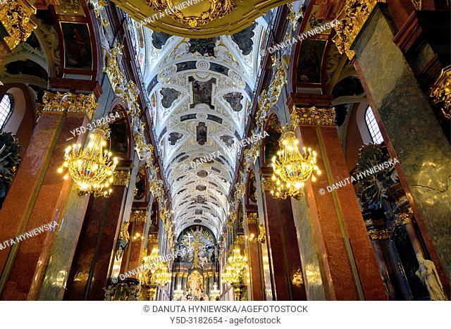 View for main altar in main nave of Basilica, most famous Polish pilgrimage site - Jasna Gora, sanctuary of Our Lady of Czestochowa -Queen of Poland and the...