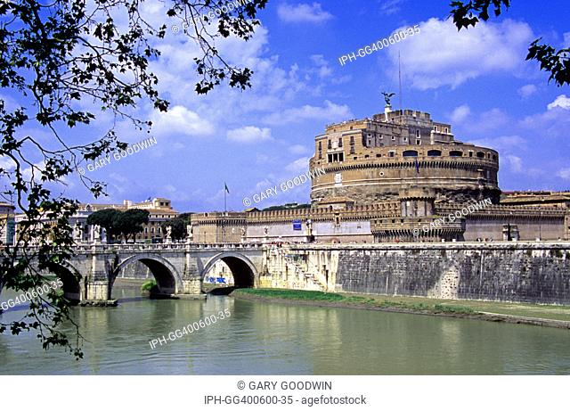 Rome - The Castel Sant Angelo overlooking the Tiber River