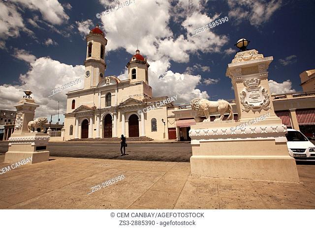 View to the Purisima Concepcion Cathedral in Jose Marti Park at Plaza de Armas Square, Cienfuegos, Cuba, West Indies, Central America