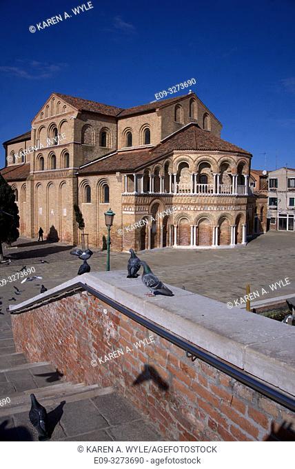 bridge, pigeons, one seagull, church - on island of Murano near Venice, Italy - sunny day with blue sky