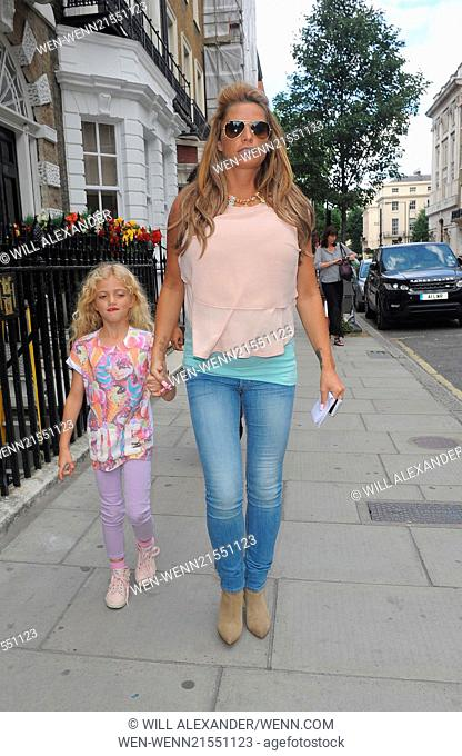 Katie Price and her daughter Pincess Tiaammi leaving a clinic on Harley Street Featuring: Katie Price,Princess Tiaamii Where: London