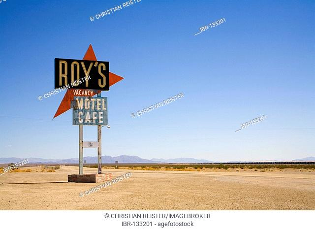 Sign of the legedary, now abandoned, Roy's Motel Café at the historical Route 66, Amoby, California, USA