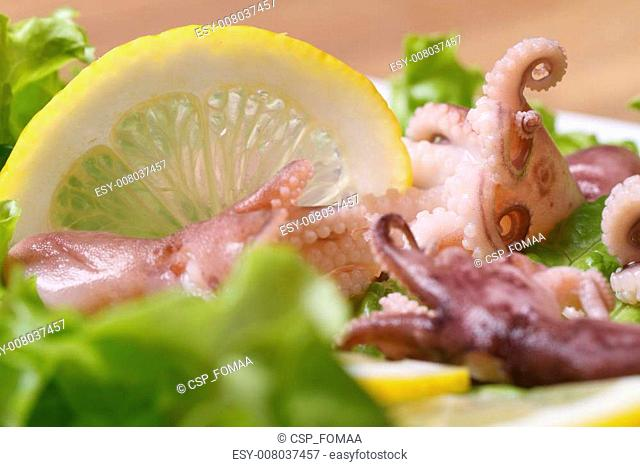 small octopus on a plate with lemon and lettuce
