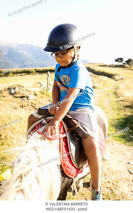 Spain, Cerdanya, little boy riding on pony