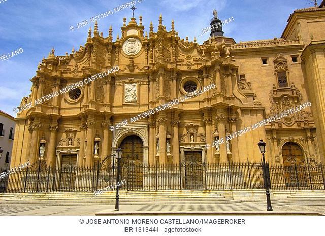 Façade of the cathedral of Guadix, 16th century, El Marquesado area, Granada, Spain, Europe