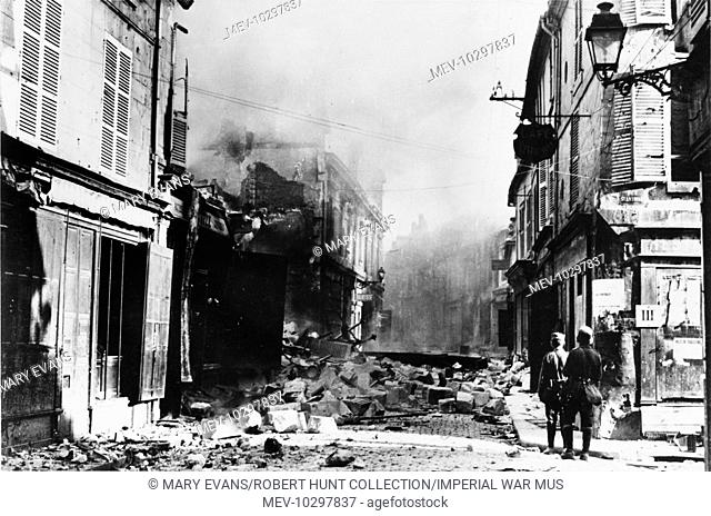 Smouldering ruins in Soissons, which was captured by the Germans on the 29 May 1918 during the Battle of Soissons and Rheims at the Third battle of Aisne on the...