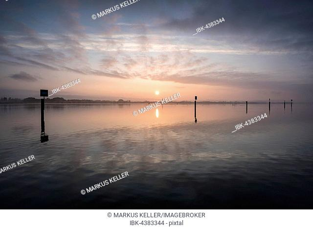 View across Lake Constance at sunrise, Radolfzell, district of Konstanz, Baden-Württemberg, Germany