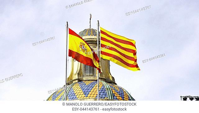 Flags in the Palace of the Generalitat de Catalunya, Barcelona, Spain