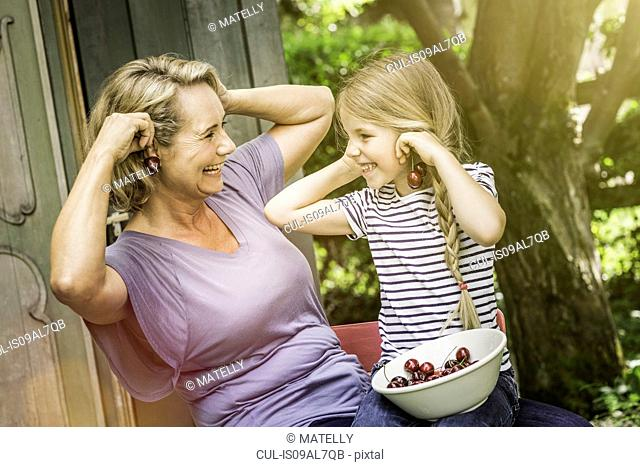 Grandmother and granddaughter together