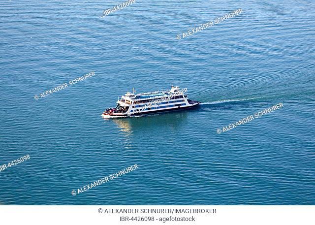 Aerial view, Meersburg ferry, Lake Constance, Baden-Württemberg, Germany