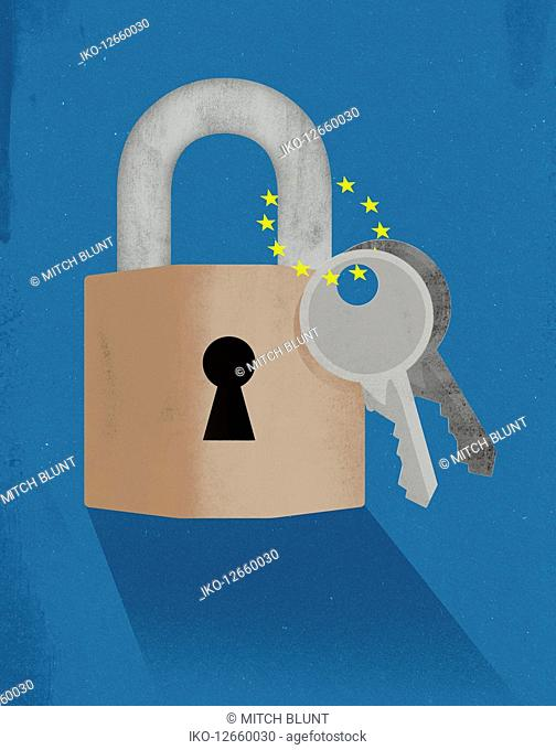 Two keys attached to padlock with European Union flag stars