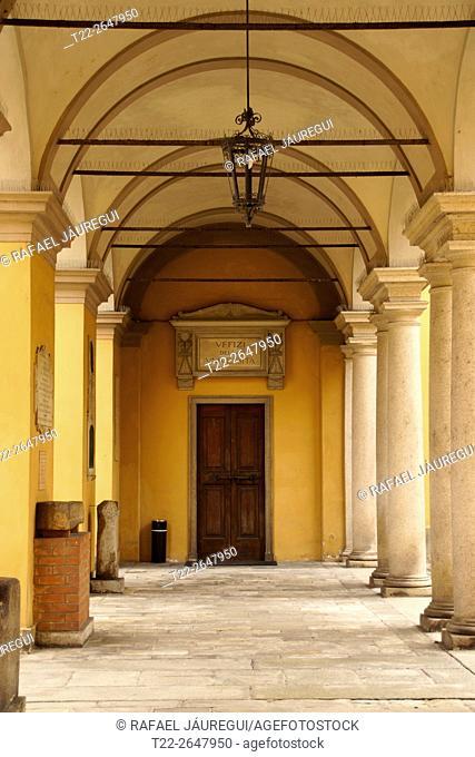 Pavia (Italy). Columns inside the University of Pavia