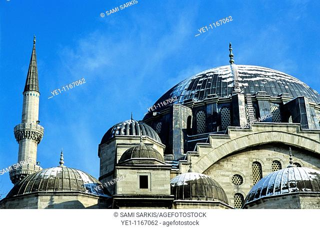 Minarets and dome roof of the Suleymaniye Mosque, an Ottoman imperial mosque in Istanbul, Turkey