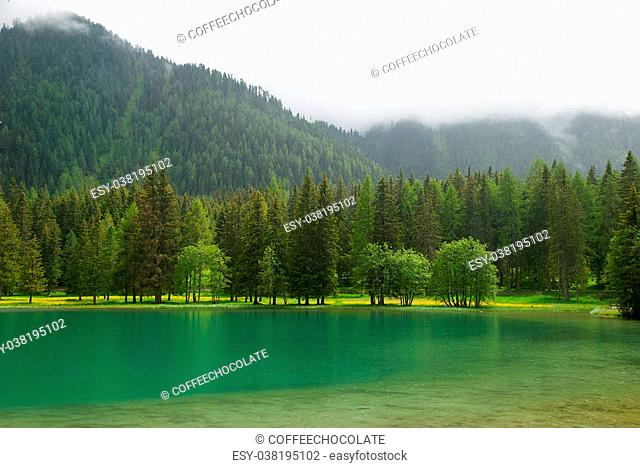 View on Lago di Anterselva Antholzer See cloudy day