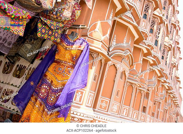 Dresses haning by the Hawa Mahal , 'Palace of Winds' or 'Palace of the Breeze' In the Pink City, Jaipur, Rajastan, India