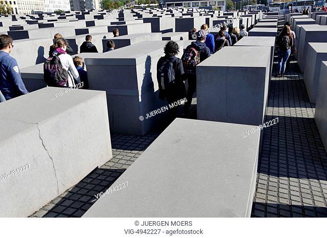 04.10.2014, Germany, Berlin:Cracks in the stelae Memorial to the Murdered Jews of Europe . - Berlin, Germany, 04/10/2014