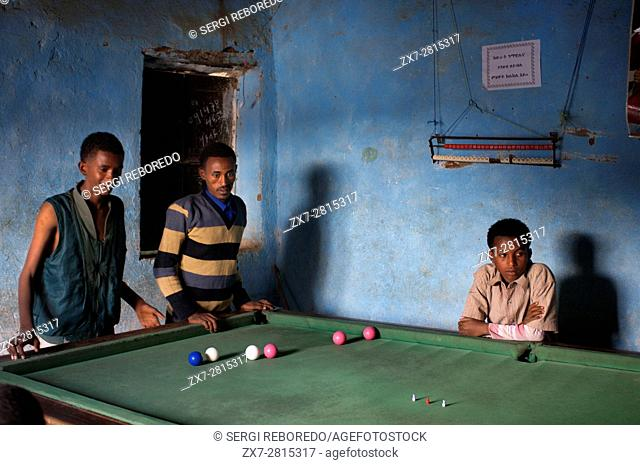 Hawzen town, Eastern Tigray, Ethiopia. Billiards are common in almost all Ethiopian villages however small. In that case it is one of the billiards of the...
