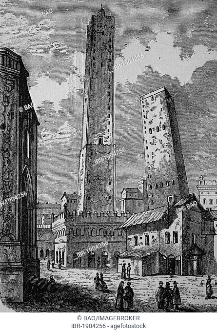 The leaning towers of Bologna, Italy, historical woodcut, circa 1870
