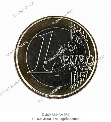 A one euro coins on a white background