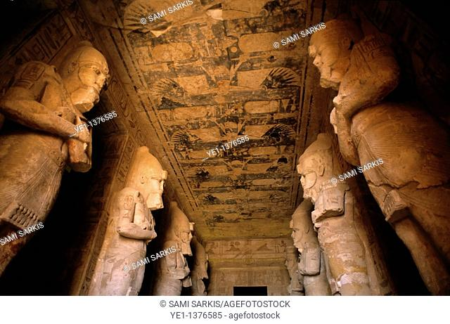 Giant statues inside the Abu Simbel temples, Nubia, Egypt