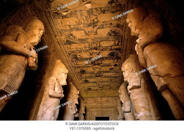 Giant statues inside the Abu Simbel temples, Nubia, Egypt