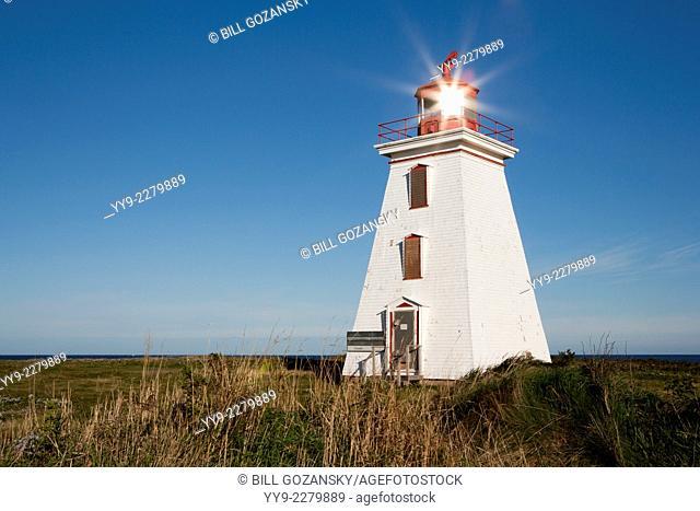 Sun reflection in Cape Egmont Lighthouse - Cape Egmont, Prince Edward Island, Canada