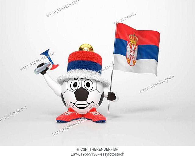 Soccer character fan supporting Serbia