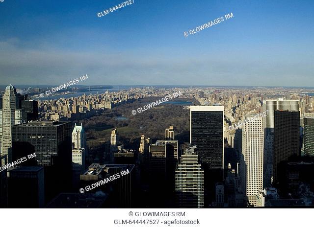 Aerial view of buildings around a park, Central Park, Manhattan, New York City, New York State, USA