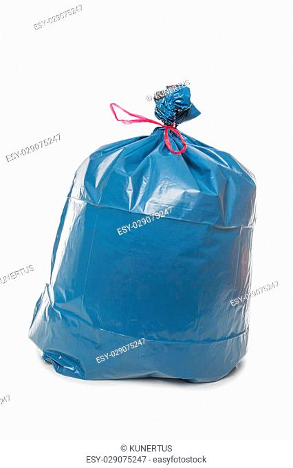 Blue Rubbish Bag isolated on white background